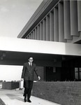 Dr. Robert Jones walks past the Edwin M. and Ester L. Rosenthal Student Center, 1968