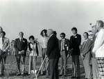 Groundbreaking ceremony for the construction of the Mailman/Hollywood building in the late 1960s. In photograph Abraham Fischler (second from the left), second President of Nova University 1970-1992, stands next to Marilyn Segal (daughter of Abraham Mailman). In the foreground, Abraham Mailman ceremoniously lifts the first shovel full of dirt from the building site. Also in the photograph: James Farquhar (second from right), former Chairman of the Nova University Board of Trustees and Joseph Randazzo (fifth from right), Head Master of the University School