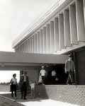Guests gather in front of the Edwin M. and Ester L. Rosenthal Student Center during the dedication ceremony May 1, 1967