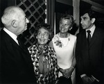 In photograph left to right: Abraham Mailman ( businessman, banker, philanthropist and the founder of the town of Miramar in Florida) and Mrs. Mailman, Dorothy Schure and Dr. Alexander Schure (Chancellor of what was formerly known as Nova University) socialize during a university hosted event