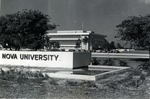 The Nova University sign is prominently displayed outside the recently completed Mailman/Hollywood building in the early 1970s