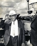 Louis Parker and Warren Winstead (first President 1965-1969, of what was incorporated as Nova University of Advanced Technology in 1964), at the construction site of the Parker building, 1967