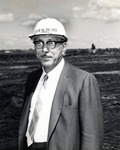 Louis W. Parker stands on the site where the building named for him will be constructed on the main campus of what was formerly known as Nova University, Davie, Florida, 1967