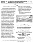 The Universities Libraries Newsletter, First Edition, September 1998, Volume 1, No. 1 by Nova Southeastern University Libraries