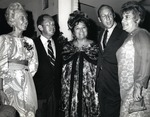 In photograph from left: Virginia Warren, Dr. Joel Warren (Director, Leo Goodwin Institute for Cancer Research 1969-1980), Theresa Castro (President of the Royal Dames), Abraham Fischler (second President Nova University 1970-1992) and his wife Shirley Fischler, attend a Royal Dames fund raising event for the Leo Goodwin Institute for Cancer Research