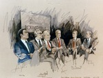 Andrew Young, William Hyland, Arkady Shevchenko, James A. Cohlesinger, Zbigniew Brzezinski, and David Brinkley