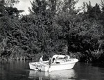 A team from Nova University Oceanographic Center makes a boat run up the South Fork of the New River near Fort Lauderdale checking nutrient pollution by collecting specimens