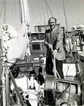 Abraham S. Fischler, second President of Nova University (1970-1992), on board one of Nova University Oceanographic Center's boats