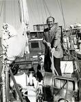 Abraham S. Fischler, second President of Nova University (1970-1992), on board one of Nova University Oceanographic Center's boats