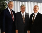 Three past Presidents of Nova Southeastern University gather for a photograph. Left to right: Ray Ferrero, Jr., President 1998-2010 and Chancellor 2010-, Ovid Lewis, President 1994-1997, and Abraham S. Fischler, President 1970-1992